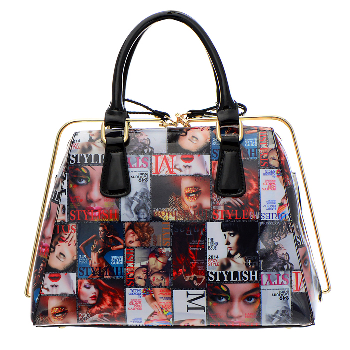 Patent Leather Magazine Print Rail Zipper Handbag 100445 A