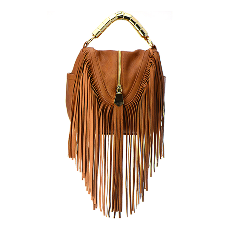 Faux Leather Fringe Purse E094-JC 100464 Tan
