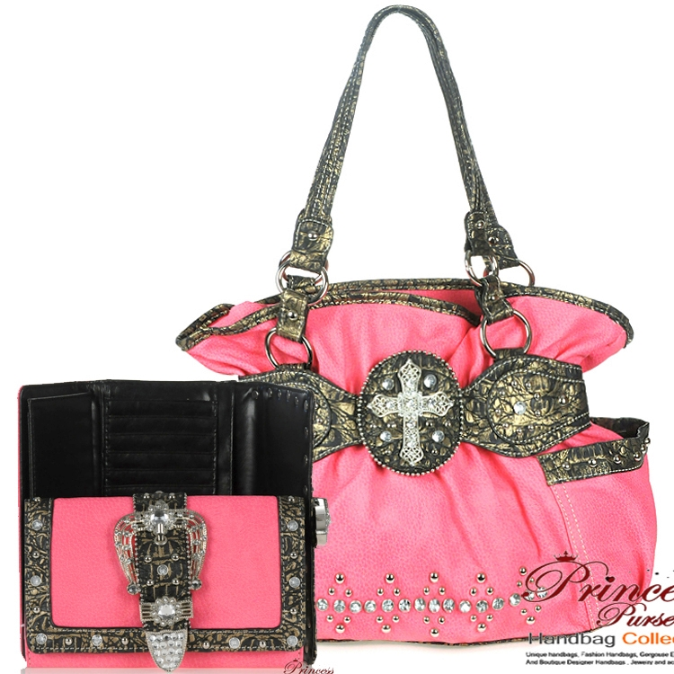 Designer Inspired Handbag W Rhinestone And Cross Emblem Matching Wallet