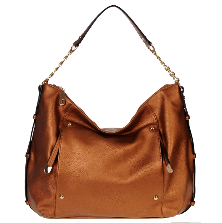 Designer Inspired Hobo Faux Leather Handbag w/ Gold Tone ...
