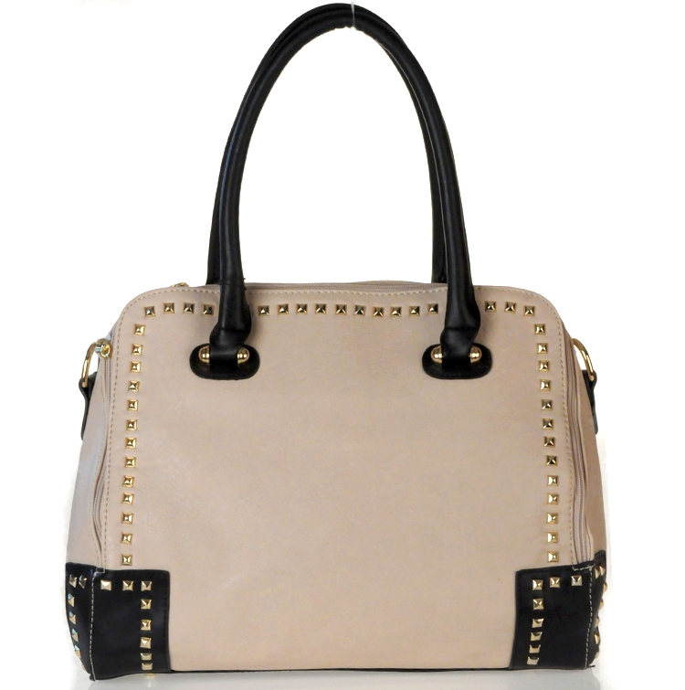 Designer Inspired Faux Leather Handbag w/ Gold Stud Decor