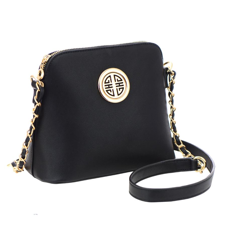 faux leather crossbody bag 35584 black
