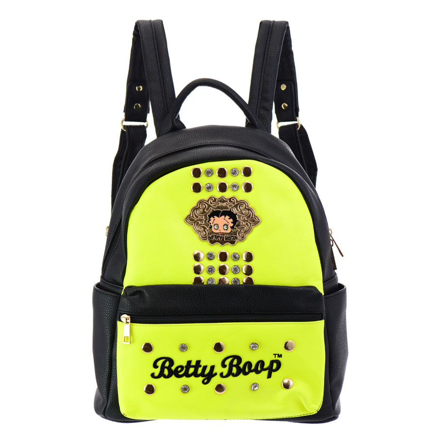 Betty Boop Faux Leather Backpack 35664 Neon Yellow