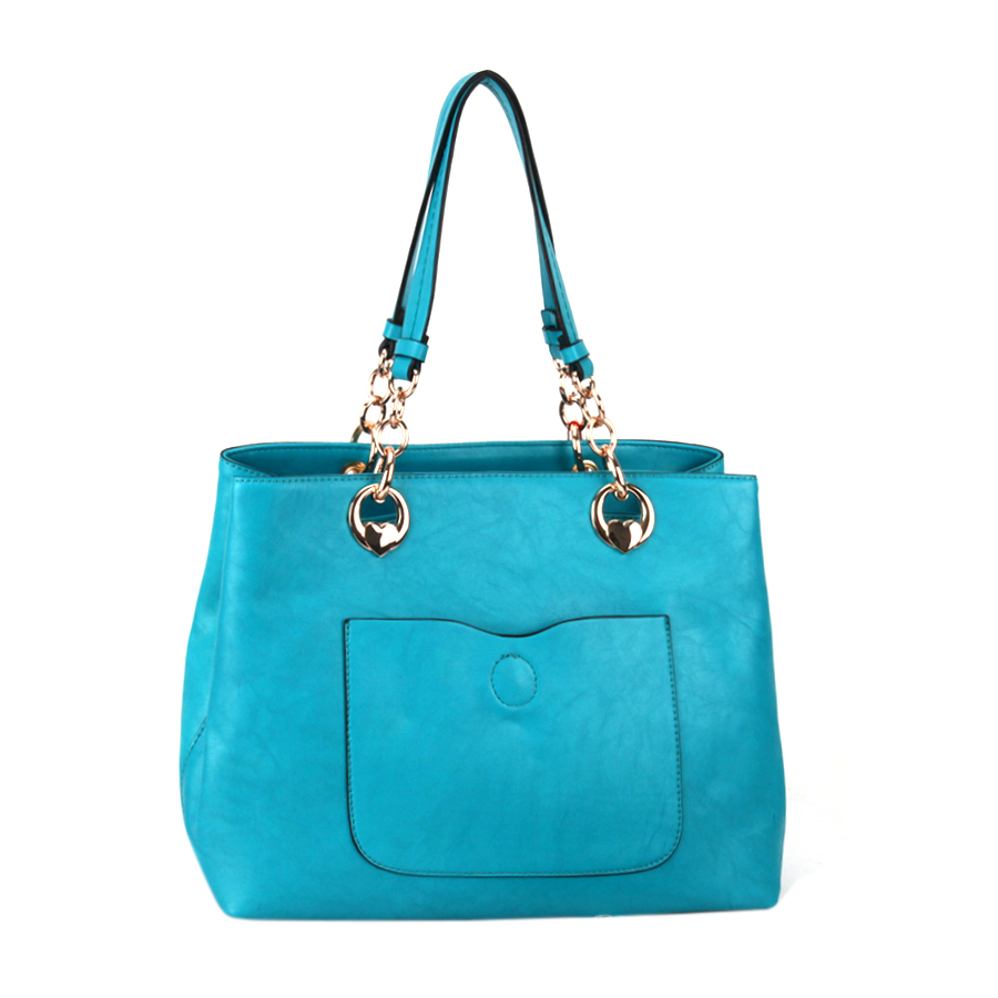 Faux Leather Handbag 35886 - Blue