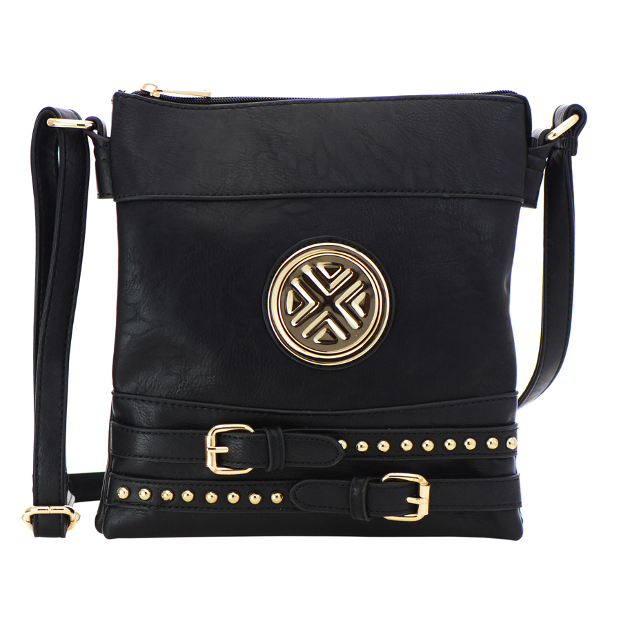 Black Faux Leather Crossbody Bag 23