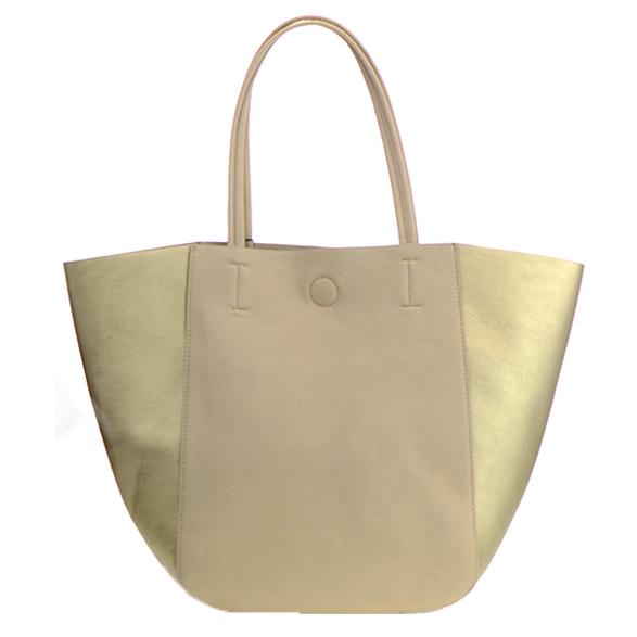 Mms Design Studio Faux Leather Tote Shoulder Handbag Bgs 6289 36580 Beige Gold