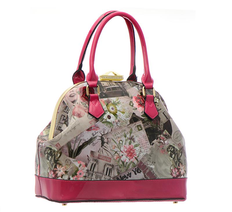 New York Magazine Print Metal Frame Doctor Shoulder Bag Handbag L0250 37057 Fuschia
