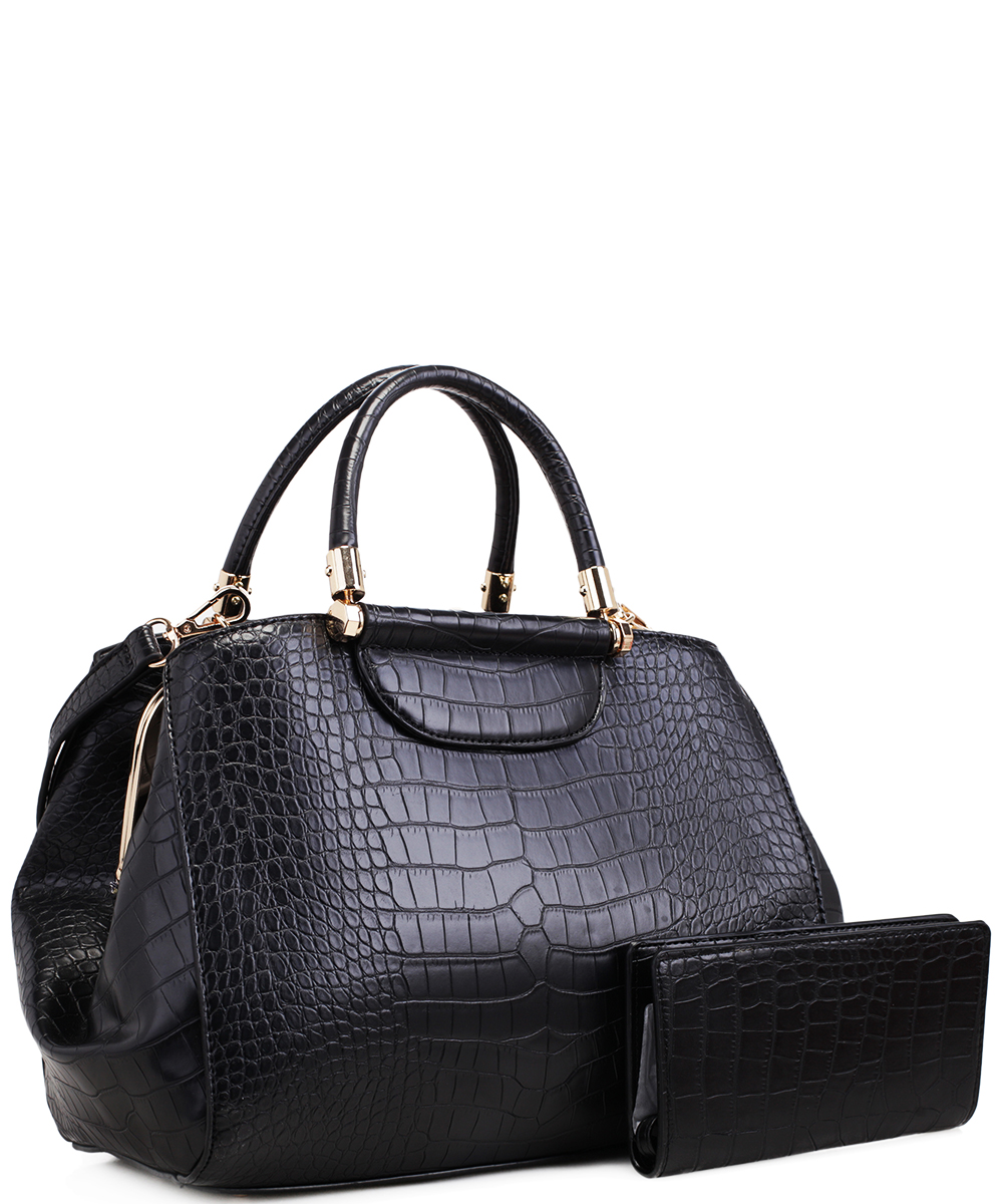 57639d2a686a Alligator Print Soft Faux Leather Designer Tote Shop Handbag Shoulder Bag  Purse with Matching Wallet 87754 BLACK