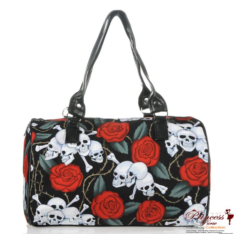 Designer Inspired Cross Bones And Skulls W Roses Handbag Made In Usa