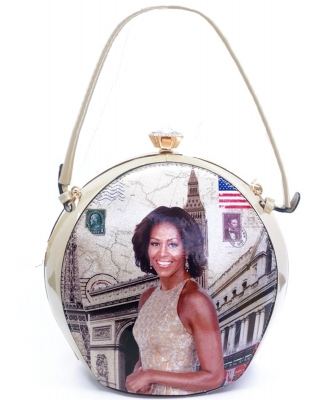 Magazine Printed Unique Ball Shape Fashion Bag 1640 BEIGE