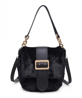 Urban Expressions Sully Fur Crossbody Bag 16792 BLACK