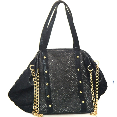 Faux Animal Skin Tote Denim G8609 1738 Black