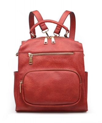Urban Expressions Miles Vegan Leather Backpack 19357 RUST