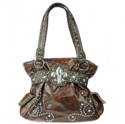 Faux leather western handbag with pockets and croc skin for Crocs fleurs