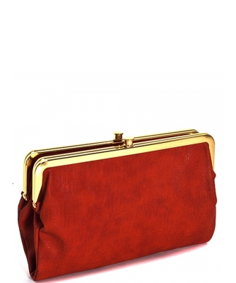 Urban Expressions Faux Leather Wallet  Metal hardware Complements Classic Style 7287A-UR  Scarlet