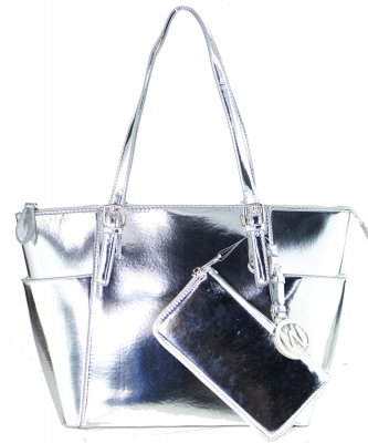 Fashion Faux Leather Metallic Handbag + Wallet MH1009WS SILVER
