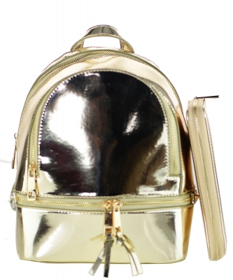 anFashion Faux Leather Metallic Backpack + Wallet MH1082W GOLD