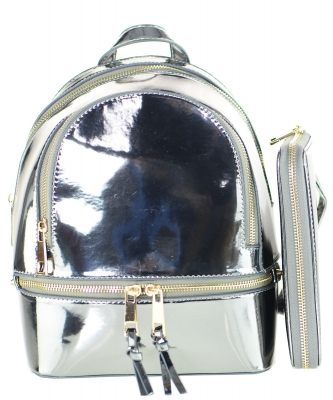 Fashion Faux Leather Metallic Backpack + Wallet MH1082W SILVER