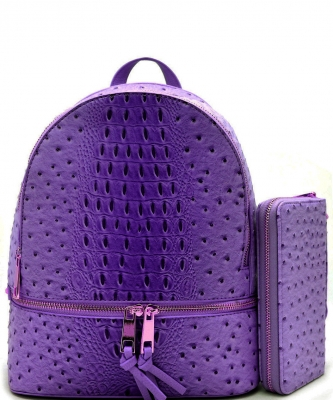 Handbag Inc Ostrich Vegan Leather Backpack and Wallet OS1062 WPURPLE