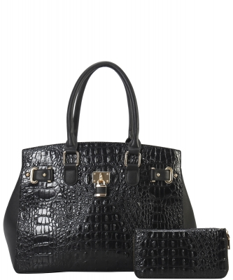 2 in 1 Handbag w Wallet Set crocodile embossed Glossy CY7083 WBLACK