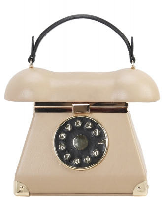 Unique Retro Phone Figure Hard Frame Novelty Satchel TL7097 TAUPE