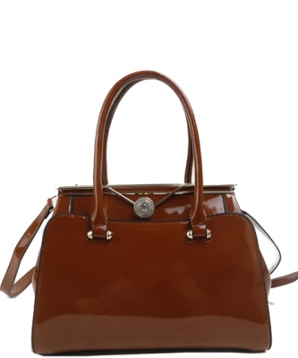 Fashion Handbag Embossed Glossy T2470 BROWN