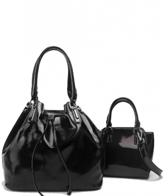 2-in-1 Real Patent Leather Handbag - Two Shoulder Handbags in One - Genuine Glossy Patent Leather L1212 BLACK