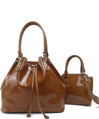 2-in-1 Real Patent Leather Handbag - Two Shoulder Handbags in One - Genuine Glossy Patent Leather L1212 BROWN