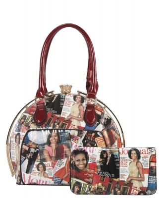 2 PCS SET Fashion Magazine Print Faux Patent Leather Handbag With Gold Embellishments OB6952 RED