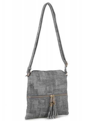 Fashion Accent Tassel Zipper Puller Cross Body Bag BW2309F GRAY
