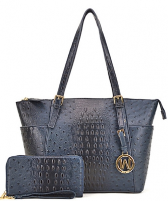 Ostrich Embossed Tote with Matching wallet OS1009 BLUE