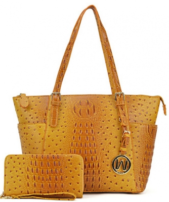 Ostrich Embossed Tote with Matching wallet OS1009 MUSTARD