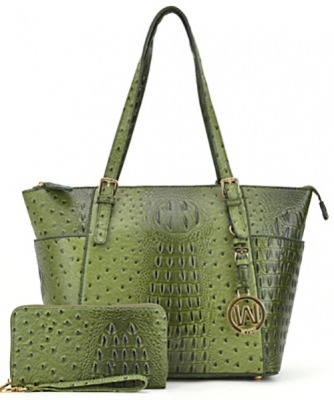 Ostrich Embossed Tote with Matching wallet OS1009 OLIVE