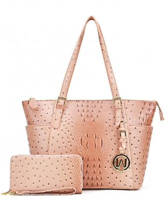 Ostrich Embossed Tote with Matching wallet OS1009 PINK