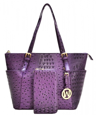 Ostrich Embossed Tote with Matching wallet OS1009 PURPLE