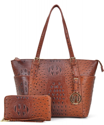 Ostrich Embossed Tote with Matching wallet OS1009 TAN