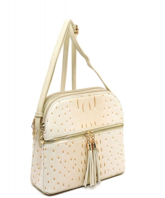 Ostrich Embossed Multi-Compartment Cross Body with Zip Tassel – OS050 BIEGE