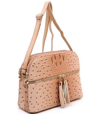 Ostrich Embossed Multi-Compartment Cross Body with Zip Tassel – OS050 PINK