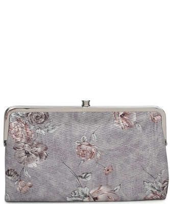 Urban Expressions Faux Leather Wallet  Metal hardware Complements Classic Style 7287F-UR SANDRA FLORAL GRAY