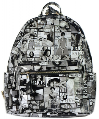 Fashion Magazine Print Faux Patent Leather Bagpack  28MP3606 BK