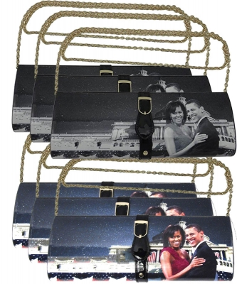 6 pcs Michelle With Barack Obama Style Buckle Clutch Wallet 28PS2322 ASSORTED