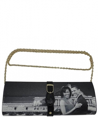Michelle With Barack Obama Style Buckle Clutch Wallet 28PS2322  black