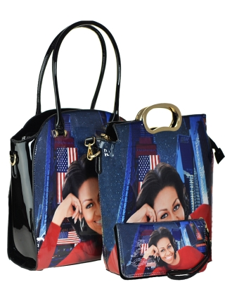 Magazine 3 PCS Combo Wallet Print Patent Shoulder Design Handbag Obama Combo 28ps7214 combo MULTI