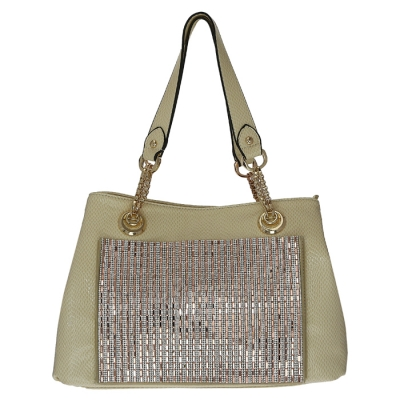 Luxury Faux Leather Matrix Handbag Beautiful Rhinestone Accent 33298 - Apricot