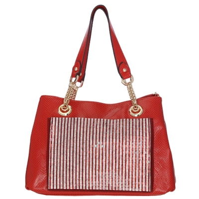 Luxury Faux Leather Matrix Handbag Beautiful Rhinestone Accent 33298 - Red