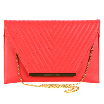 Faux Leather Flap Clutch 33808 - Coral