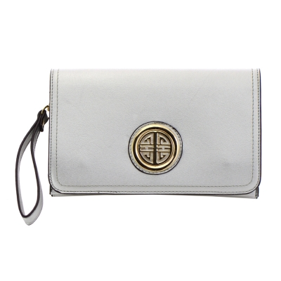 Designer Inspired Faux Leather Metal Accents Clutch Bag 34305 - Silver