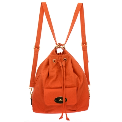 Faux Leather Shoulder Bag and Backpack 35219 - Orange