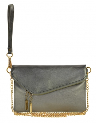 Faux Leather Clutch Purse WU023 L PEWTER