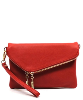 Faux Leather Clutch Purse 35261 - RED